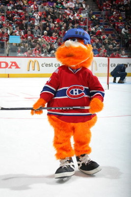 MONTREAL - JANUARY 24:  Montreal Canadiens mascot Youppi skates during the McDonalds/NHL All-Star open practice as part of the 2009 NHL All-Star weekend on January 24, 2009 at the Bell Centre in Montreal, Canada. (Photo by Dave Sandford/Getty Images)
