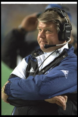 30 Jan 1994:  Dallas Cowboys head coach Jimmy Johnson looks on during Super Bowl XXVIII against the Buffalo Bills at the Georgia Dome in Atlanta, Georgia.  The Cowboys won the game, 30-13. Mandatory Credit: Jonathan Daniel  /Allsport