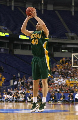 MINNEAPOLIS - MARCH 20:  Lucas Moormann #40 of the North Dakota State Bison attempts a shot against the Kansas Jayhawks during the first round of the NCAA Division I Men's Basketball Tournament at the Hubert H. Humphrey Metrodome on March 20, 2009 in Minn