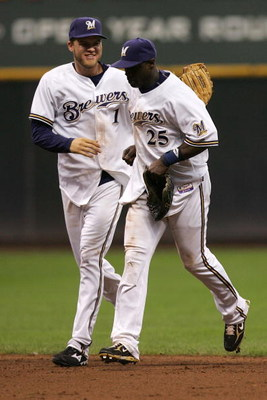 MILWAUKEE - OCTOBER 04:  (L-R) Corey Hart #1 and Mike Cameron #25 of the Milwaukee Brewers their 4-1 win against the Philadelphia Phillies in Game three of the NLDS during the 2008 MLB playoffs at Miller Park on October 4, 2008 in Milwaukee, Wisconsin.  (