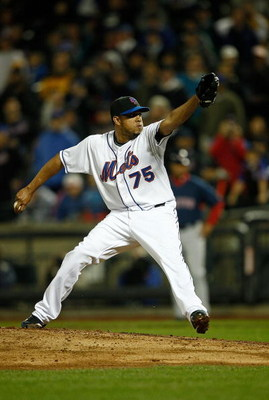NEW YORK - APRIL 03:  Pitcher Francisco Rodriguez  #75 of the New York Mets   pitches during an exhibition game against the Boston Red Sox on April 3, 2009 at Citi Field in the Flushing neighborhood of the Queens borough of New York City. The game marks t