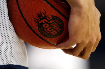 DETROIT - APRIL 03:  A detail of a player from the Connecticut Huskies holding a basketball with the 2009 Final Four logo on it during practice prior to the Final Four of the NCAA Division I Men's Basketball Tournament at Ford Field on April 3, 2009 in De