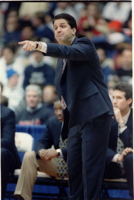 18 JAN 1994:  UNIVERSITY OF MASSACHUSETTS COACH JOHN CALIPARI POINTS OUT DIRECTIONS TO HIS PLAYERS DURING A NON-CONFERENCE GAME WITH THE DEPAUL BLUE DEMONS.