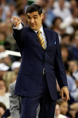 DETROIT - APRIL 04:  Head coach Jay Wright of the Villanova Wildcats reacts from the sideline while taking on the North Carolina Tar Heels during the National Semifinal game of the NCAA Division I Men's Basketball Championship at Ford Field on April 4, 20