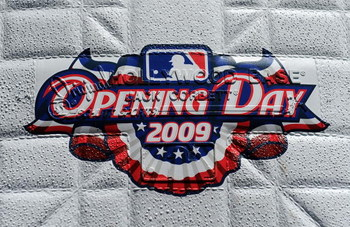 ARLINGTON, TX - APRIL 06:  The 'Opening Day 2009' logo on a base before a game between the Cleveland Indians and the Texas Rangers during the home opener on April 6, 2009 at Rangers Ballpark in Arlington, Texas.  (Photo by Ronald Martinez/Getty Images)