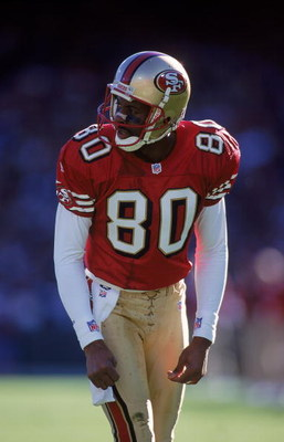 21 Nov 1999: Jerry Rice #80 of the San Francisco 49ers gets ready to move at the snap during a game against the St. Louis Rams at the 3Comm Park in San Francisco, California. The Rams defeated the 49ers 23-7. Mandatory Credit: Donald Miralle  /Allsport