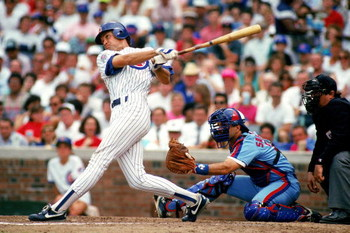 CHICAGO -1990:  Ryne Sandberg #23 of the Chicago Cubs swings at the ball during a game against the Montreal Expos in 1990 at Wrigley Field in Chicago, Illinois. (Photo by Jonathan Daniel/Getty Images)