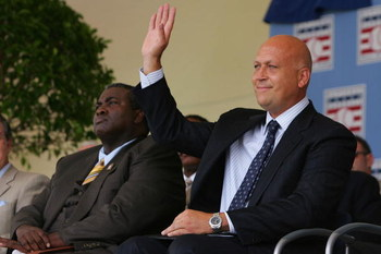 COOPERSTOWN, NY - JULY 29:  2007 inductees Tony Gwynn (L) and Cal Ripken Jr. are introduced to the crowd during the Baseball Hall of Fame induction ceremony on July 29, 2007 at Clark Sports Center in Cooperstown, New York.  (Photo by Chris McGrath/Getty I