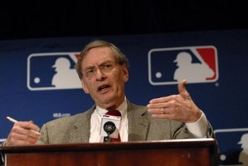NEW YORK - DECEMBER 13:  Major League Baseball Commissioner Bud Selig speaks at a news conference after the release today of the Mitchell Report on steroid use in baseball December 13, 2007 at the Waldorf-Astoria in New York City. The release of the repor