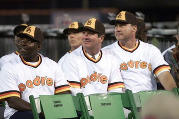 7 Oct 01:   (Left to right:  first baseman Broderick Perkins, pitcher John Curtis, catcher Terry Kennedy) Members of the starting lineup of San Diego Padres outfielder Tony Gwynn's first Major League game watch the video board during Gwynn's retirement ce