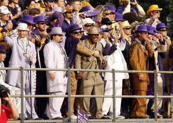 OXFORD, MS - NOVEMBER 17: Fans of the LSU Tigers, known as 'Tigers pimp nation' cheer during a game against the Mississippi Rebels on November 17, 2007 at Vaught-Hemingway Stadium/Hollingsworth Field in Oxford, Mississippi. LSU beat Mississippi 41-24. (Ph