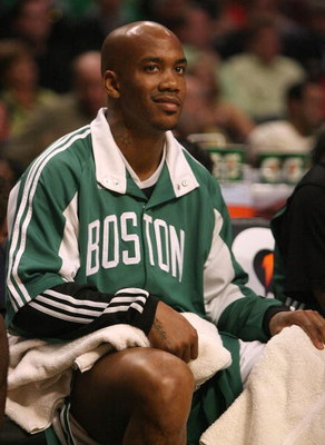 CHICAGO - MARCH 17: Stephon Marbury #8 of the Boston Celtics sits on the bench during a game against the Chicago Bulls on March 17, 2009 at the United Center in Chicago, Illinois. The Bulls defeated the Celtics 127-121. NOTE TO USER: User expressly acknow
