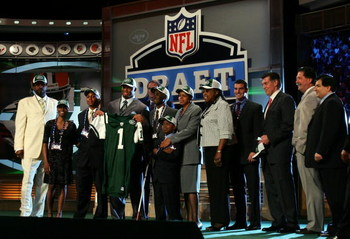 NEW YORK - APRIL 26:  Vernon Gholston poses for a photo after being selected as the sixth overall pick by the New York Jets with family and friends during the 2008 NFL Draft on April 26, 2008 at Radio City Music Hall in New York City.  (Photo by Jim McIsa