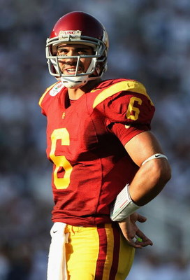 PASADENA, CA - JANUARY 01:  Quarterback Mark Sanchez #6 of the USC Trojans in action during the 95th Rose Bowl Game presented by Citi against the Penn State Nittany Lions at the Rose Bowl on January 1, 2009 in Pasadena, California. The Trojans defeated th