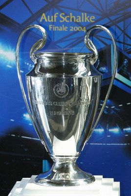 GELSENKIRCHEN, GERMANY - APRIL 15:  The Champions League Trophy is seen at The Champions League Trophy Handover Ceremony at The Music Hall on April 15, 2004 in Gelsenkirchen, Germany.  (Photo by Stuart Franklin/Getty Images)