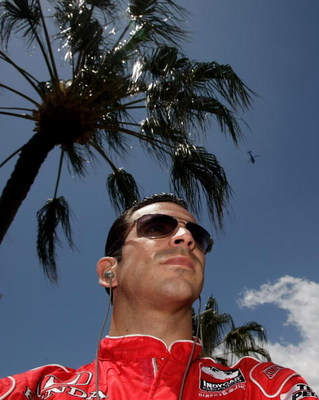 GOLD COAST, AUSTRALIA - OCTOBER 25:  Helio Castroneves driver of the #3 Team Penske Dallara Honda looks on during practice for the IRL Indy Car Series Nikon Indy 300 on October 25, 2008 on the Gold Coast, Australia.  (Photo by Robert Cianflone/Getty Image