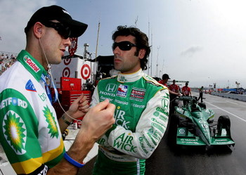 ST. PETERSBURG, FL - APRIL 3: Dario Franchitti, (R) driver of the #!0 Air Wick Target Chip Ganassi Racing Dallara Honda talks with his racing driver brother Marino, driver of the American Le Mans Series  Dyson Racing BP Lola Mazda during practice for the