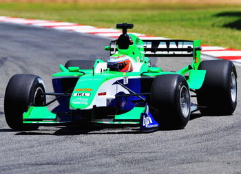 KYALAMI, SOUTH AFRICA - FEBRUARY 21:  Adam Carroll of Republic Ireland in action during the A1 GP qualifying round held at the Kyalami race track on February 21, 2009 in Gauteng, South Africa. (Photo by Duif du Toit/Gallo Images/Getty Images)
