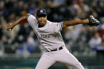 KANSAS CITY, MO - APRIL 11:  Reliever Jose Veras #41 of the New York Yankees throws a pitch against the Kansas City Royals on April 11, 2009 at Kauffman Stadium in Kansas City, Missouri.  New York won 6-1. (Photo by G. Newman Lowrance/Getty Images)