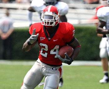 ATHENS - AUGUST 30:  Running back Knowshon Moreno #24 of the Georgia Bulldogs ran for 59 yards and 3 touchdowns during the game against the Georgia Southern Eagles at Sanford Stadium on August 30, 2008 in Athens, Georgia.  (Photo by Mike Zarrilli/Getty Im
