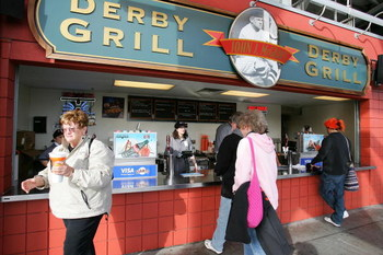 SAN FRANCISCO - MAY 12:  Fans buy food at the Dirby Grill as the San Francisco Giants play against the Los Angeles Dodgers during the MLB game at AT&T Park on May 12, 2006 in San Francisco, California.  The Dodgers won 6-1.  (Photo by Jed Jacobsohn/Getty