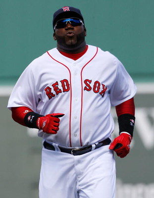 BOSTON - APRIL 9: David Ortiz #34 of the Boston Red Sox prepares for a game with the Tampa Bay Rays at Fenway Park April 9, 2009, in Boston, Massachusetts. The Rays won the game 4-3. (Photo by Jim Rogash/Getty Images)