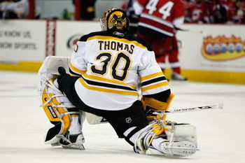 RALEIGH, NC - FEBRUARY 17:  Tim Thomas #30 of the Boston Bruins looks on during the game against the Carolina Hurricanes on February 17, 2009 at RBC Center in Raleigh, North Carolina.  (Photo by Kevin C. Cox/Getty Images)