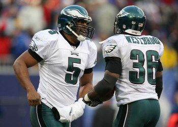 EAST RUTHERFORD, NJ - DECEMBER 07:  Donovan McNabb #5 of the Philadelphia Eagles with Brian Westbrook #36 after Westbrook's second touchdown against the New York Giants at Giants Stadium on December 7, 2008 in East Rutherford, New Jersey.  (Photo by Nick