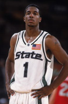 23 Nov 2001:  Guard Marcus Taylor #1 of the Michigan State Spartans looks on against the Fresno State Bulldogs during the NCAA game at Madison Square Garden in New York, New York.  Fresno State defeated Michigan State 63-58.Mandatory Credit:  Al Bello/Get