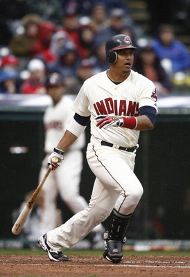 CLEVELAND - APRIL 10:  Victor Martinez #41 of the Cleveland Indians hits a single against the Toronto Blue Jays in the first inning April 10, 2009 at Progressive Field in Cleveland, Ohio.  (Photo by Matt Sullivan/Getty Images)