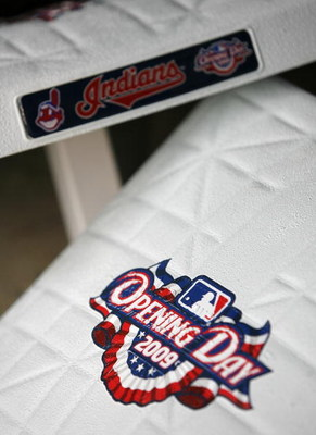 CLEVELAND - APRIL 10:  Bases wait in the dugout  prior to the start of the Cleveland Indians and Toronto Blue Jays game April 10, 2009 at Progressive Field in Cleveland, Ohio.  (Photo by Matt Sullivan/Getty Images)