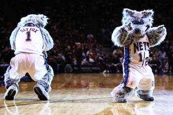 EAST RUTHERFORD, NJ - MARCH 27:  New Jersey Nets mascot Sly Fox and Mini Sly Fox dance during the game between the Los Angeles Lakers and the New Jersey Nets during the game on March 27, 2009 at the Izod Center in East Rutherford, New Jersey. NOTE TO USER