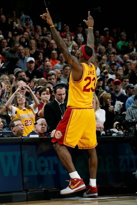 CLEVELAND - FEBRUARY 22:  LeBron James #23 of the Cleveland Cavaliers points to the crowd during the game against the Detroit Pistons on February 22, 2009 at the Quicken Loans Arena in Cleveland, Ohio.  The Cavaliers won 99-78.  NOTE TO USER: User express