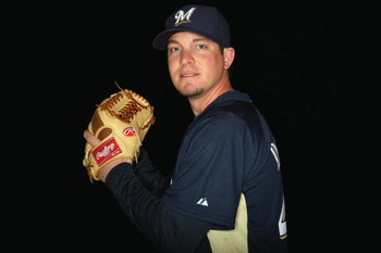 MARYVALE, AZ - FEBRUARY 19: Mark DiFelice of the Milwaukee Brewers poses during photo day at the Brewers spring training complex on February 19, 2009 in Maryvale, Arizona. (Photo by Ronald Martinez/Getty Images)