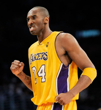 LOS ANGELES, CA - APRIL 09:  Kobe Bryant #24 of the Los Angeles Lakers reacts after defeating the the Denver Nuggets, 116-102, at Staples Center on April 9, 2009 in Los Angeles , California.  (Photo by Kevork Djansezian/Getty Images) NOTE TO USER: User ex