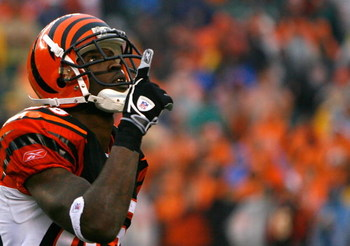 CINCINNATI - DECEMBER 09:  Receiver Chad Johnson #85 of the Cincinnati Bengals reacts after pulling in a reception against the St. Louis Rams during the second half at Paul Brown Stadium on December 9, 2007 in Cincinnati, Ohio.  Cincinnati defeated St. Lo