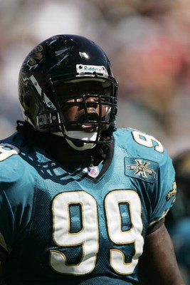 JACKSONVILLE - OCTOBER 17:  Defensive tackle Marcus Stroud #99 of the Jacksonville Jaguars is seen on the field during the game against the Kansas City Chiefs on October 17, 2004 at Alltel Stadium in Jacksonville, Florida. The Jaguars defeated the Chiefs