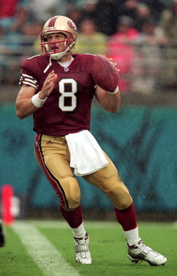 12 Sep 1999:  Steve Young #8 of the San Francisco 49ers gets ready to pass the ball during the game against the Jacksonville Jaguars at the Alltell Stadium in Jacksonville, Florida. The Jaguars defeated the 49ers 41-3. Mandatory Credit: Andy Lyons  /Allsp