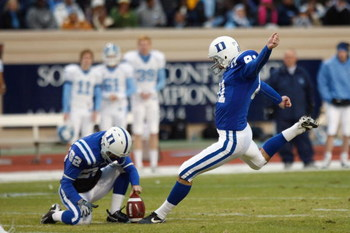 DURHAM, NC - NOVEMBER 29:  Joe Surgan #81 of the Duke Blue Devils kicks a field goal during the game against the North Carolina Tar Heels at Wallace Wade Stadium on November 29, 2008 in Durham, North Carolina. (Photo by Kevin C. Cox/Getty Images)