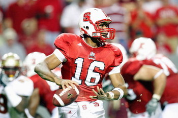 RALEIGH, NC - OCTOBER 16:  Russell Wilson #16 of the North Carolina State Wolfpack looks for a receiver during the game against the Florida State Seminoles at Carter-Finley Stadium on October 16, 2008 in Raleigh, North Carolina.  (Photo by Kevin C. Cox/Ge