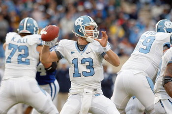 DURHAM, NC - NOVEMBER 29:  Quarterback T.J. Yates #13 of the North Carolina Tar Heels looks to pass the ball during against the Duke Blue Devils at Wallace Wade Stadium on November 29, 2008 in Durham, North Carolina. (Photo by Kevin C. Cox/Getty Images)