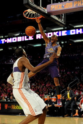 PHOENIX - FEBRUARY 13:  Russell Westbrook #0 of the Rookie team slam dunks over Kevin Durant #35 of the Sophomore team during the T-Mobile Rookie Challenge & Youth Jam part of 2009 NBA All-Star Weekend at US Airways Center on February 13, 2009 in Phoenix,