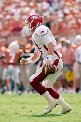 AUSTIN, TX - SEPTEMBER 27:  Quarterback Casey Dick #11 of the Arkansas Razorbacks moves to pass the ball during the game against the Texas Longhorns on September 27, 2008 at Darrell K Royal-Texas Memorial Stadium in Austin, Texas.  Texas won 52-10.  (Phot