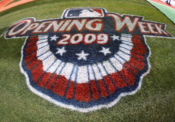 ATLANTA - APRIL 12: An opening week logo decorates the third base line as the Atlanta Braves host the Washington Nationals April 12, 2009 at Turner Field in Atlanta, Georgia.  (Photo by Al Messerschmidt/Getty Images)
