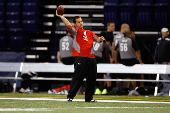 INDIANAPOLIS, IN - FEBRUARY 21:  Quarterback Nathan Brown of Central Arkansas passes the football during the NFL Scouting Combine presented by Under Armour at Lucas Oil Stadium on February 21, 2009 in Indianapolis, Indiana. (Photo by Scott Boehm/Getty Ima