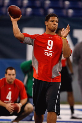 INDIANAPOLIS, IN - FEBRUARY 22:  Quarterback Josh Freeman of Kansas State passes the football during the NFL Scouting Combine presented by Under Armour at Lucas Oil Stadium on February 22, 2009 in Indianapolis, Indiana. (Photo by Scott Boehm/Getty Images)
