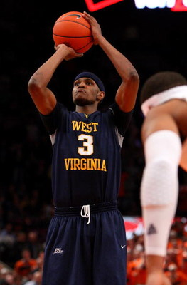 NEW YORK - MARCH 13: Devin Ebanks #3 of the West Virginia Mountaineers hits a free throw to send the game into overtime against the Syracuse Orange during the semifinal round of the Big East Tournament at Madison Square Garden on March 13, 2009 in New Yor