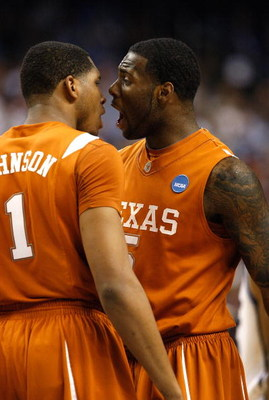 GREENSBORO, NC - MARCH 21:  Damion James #5 of the Texas Longhorns reacts to Gary Johnson #1 against the Duke Blue Devils during the second round of the NCAA Division I Men's Basketball Tournament at the Greensboro Coliseum on March 21, 2009 in Greensboro