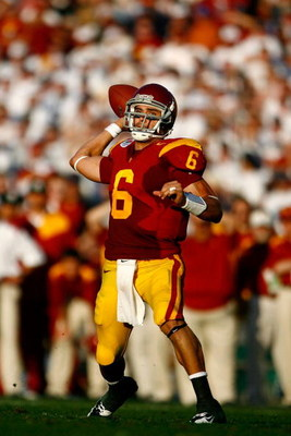 PASADENA, CA - JANUARY 01:  Quarterback Mark Sanchez #6 of the USC Trojans throws a touchdown at the end of the first half against the Penn State Nittany Lions during the 95th Rose Bowl Game presented by Citi on January 1, 2009 at the Rose Bowl in Pasaden
