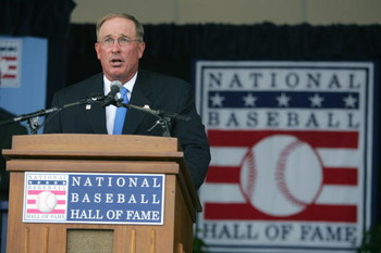 COOPERSTOWN, NY - JULY 31: Hall of Famer Gary Carter speaks at the Baseball Hall of Fame Induction ceremony on July 31, 2005 at the Clark Sports Complex in Cooperstown, New York.  (Photo by Ezra Shaw/Getty Images)